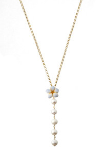 Collana in argento placcato oro 18 kt. perle d'acqua dolce e fiore in argento placcato oro 18 kt e smalto azzurro shining